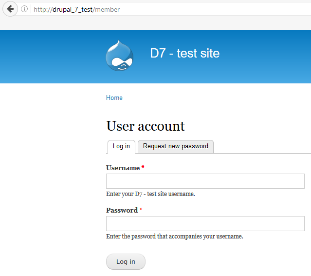 Login page with module