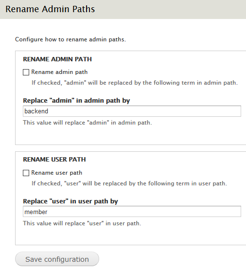 Rename Admin Paths settings