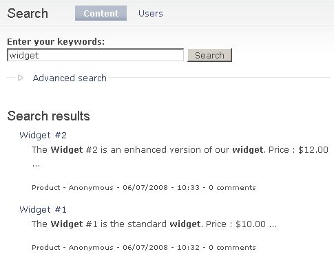 Search results products