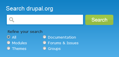 Drupal.org search form