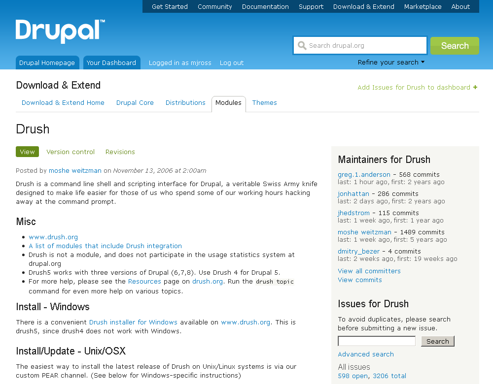 Drupal.org page