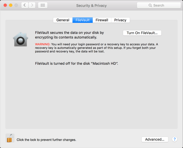FileVault on OS X El Capitan
