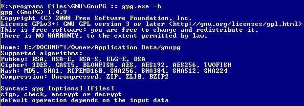 GnuPG help info