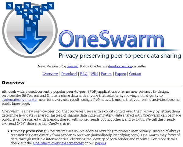 OneSwarm home page