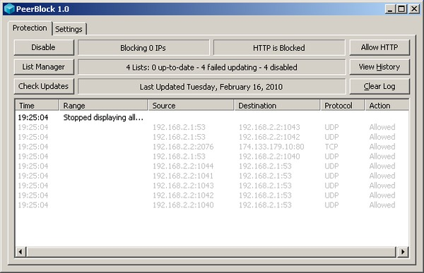 PeerBlock user interface