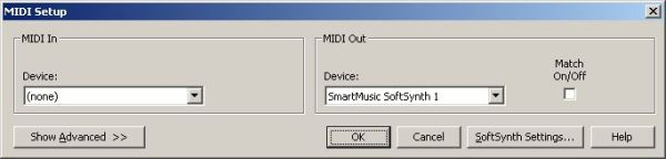 NotePad MIDI setup