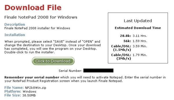 NotePad download screen