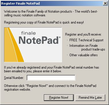 NotePad serial number