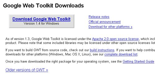 Google Web Toolkit download page