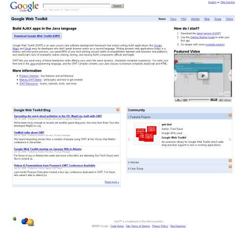 Google Web Toolkit page