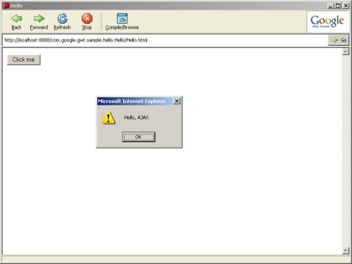 Hello hosted mode dialog box