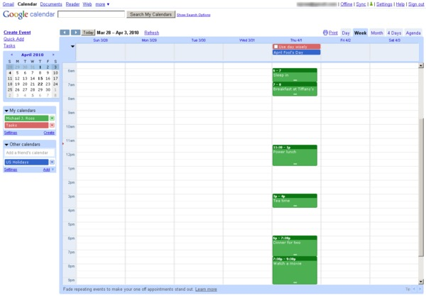 Google Calendar user interface