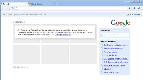Initial browser window