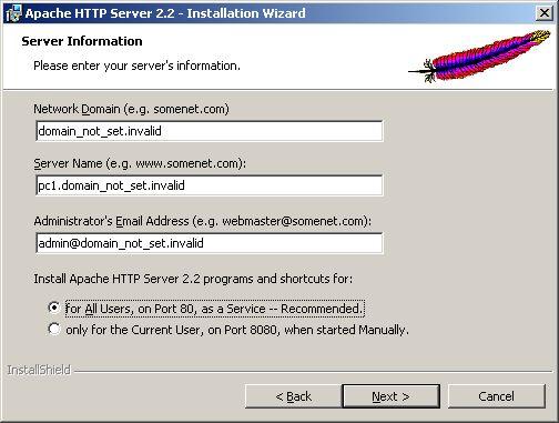 Installing Apache - server information default