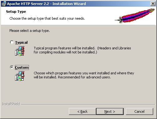 Installing Apache - setup type