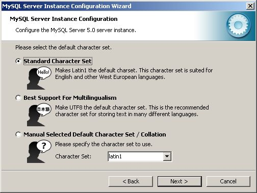 Configuration Wizard - character set