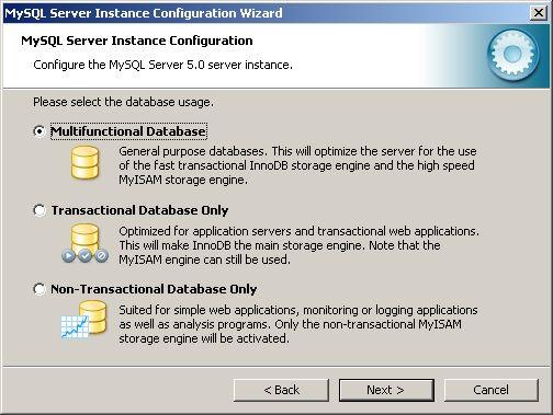 Configuration Wizard - database usage