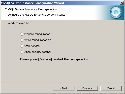 Configuration Wizard - ready to execute