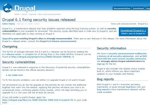 Drupal 6.1 download page