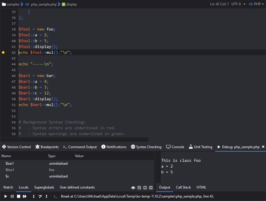 Debugging PHP code