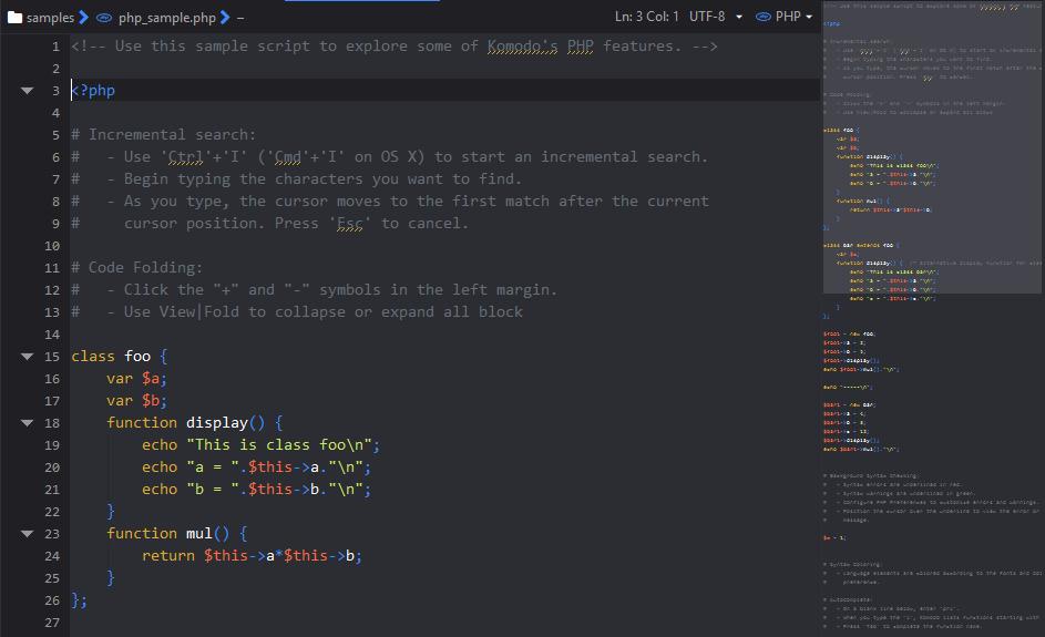 Minimap of code