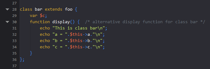Syntax highlighting in PHP code