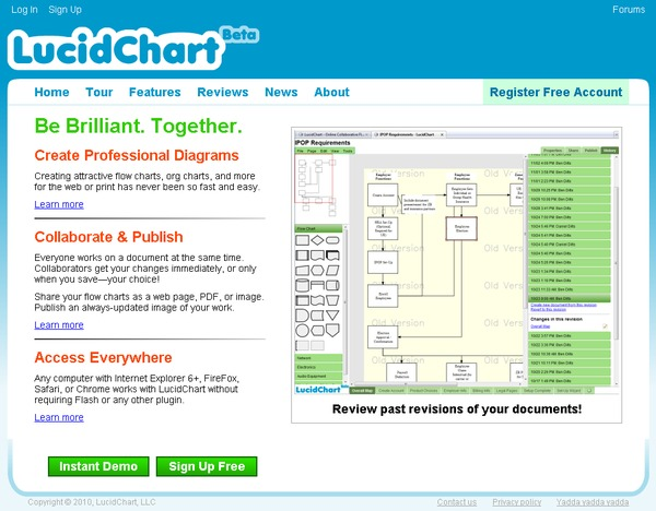 LucidChart home page