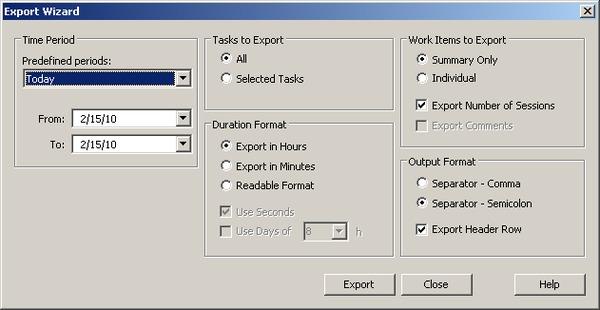 Export dialog