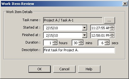 Task review dialog