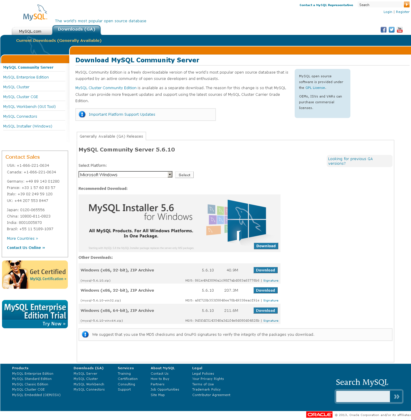 MySQL Community Server download page