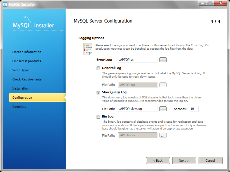 MySQL Installer configuration step 4