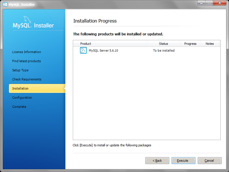 MySQL Installer installation begin