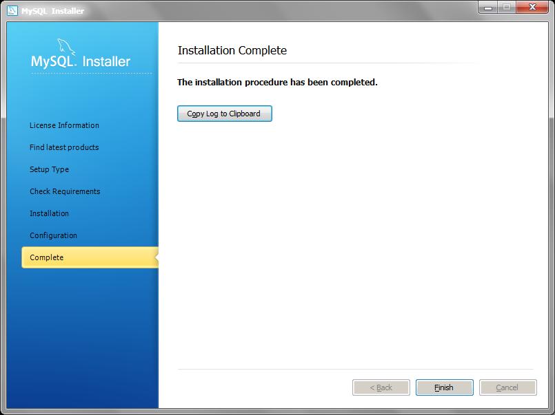 MySQL Installer installation complete