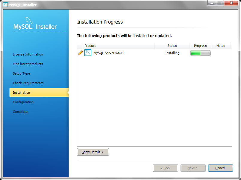 MySQL Installer installation progress