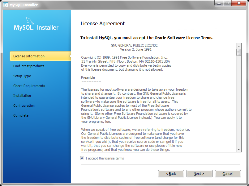 MySQL Installer license agreement