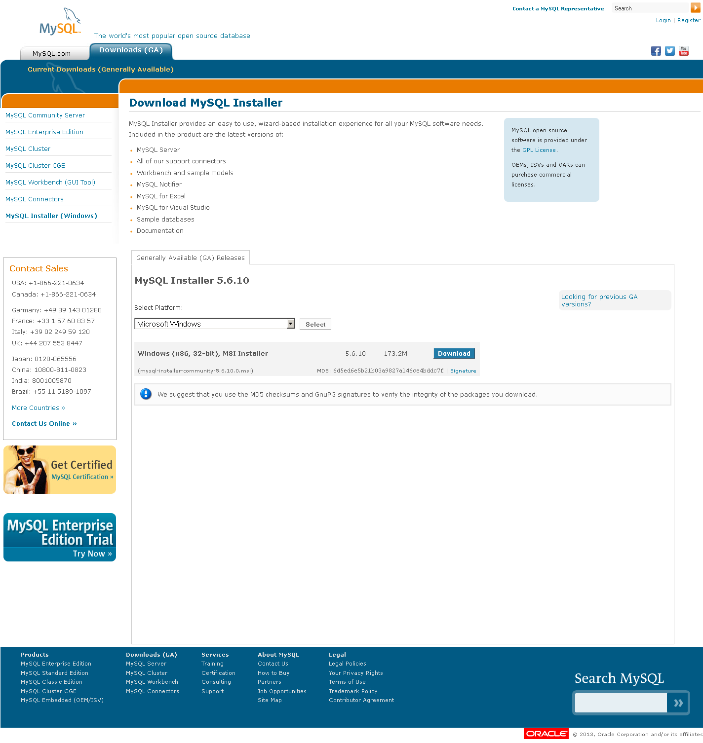 MySQL Installer page
