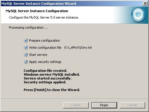 Configuration Wizard - completed