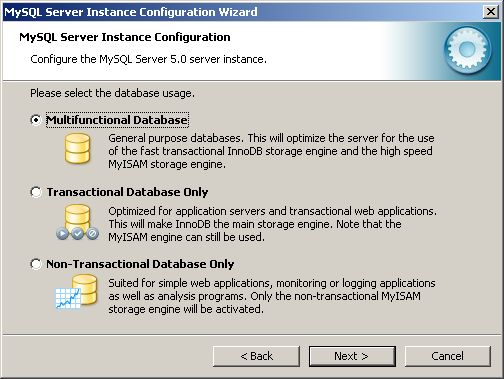 Configuration Wizard - database usage