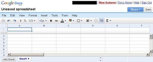 Google Docs - new spreadsheet