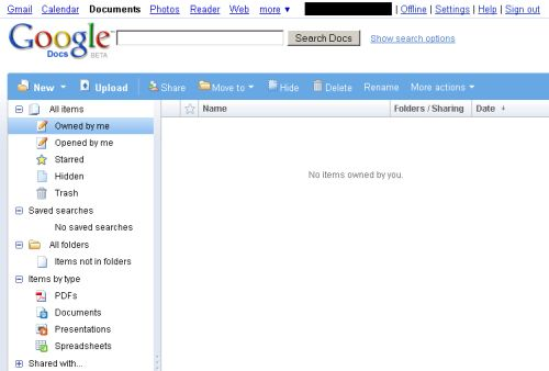 Google Docs home page