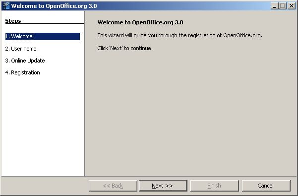 OpenOffice.org welcome dialog