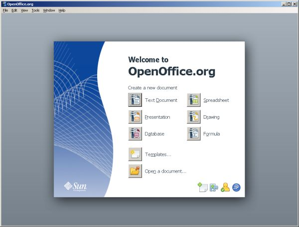 OpenOffice.org welcome screen