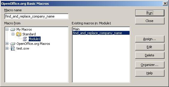Dialog to organize macros