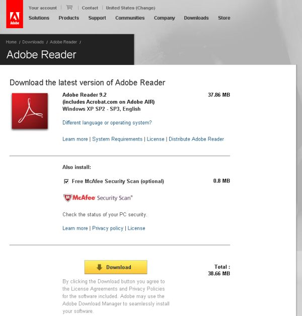 Adobe Reader page