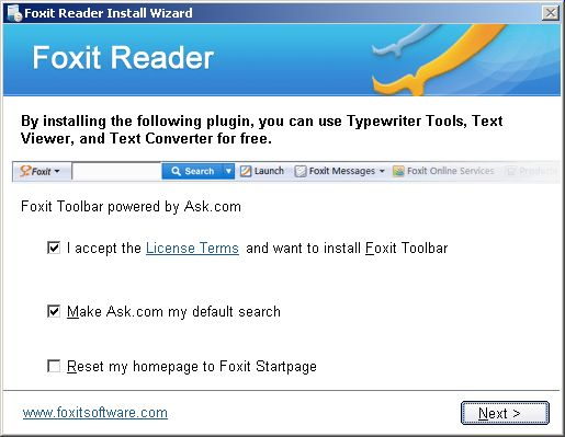 Foxit Reader installation options