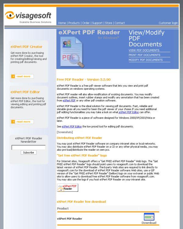 eXPert PDF Reader page