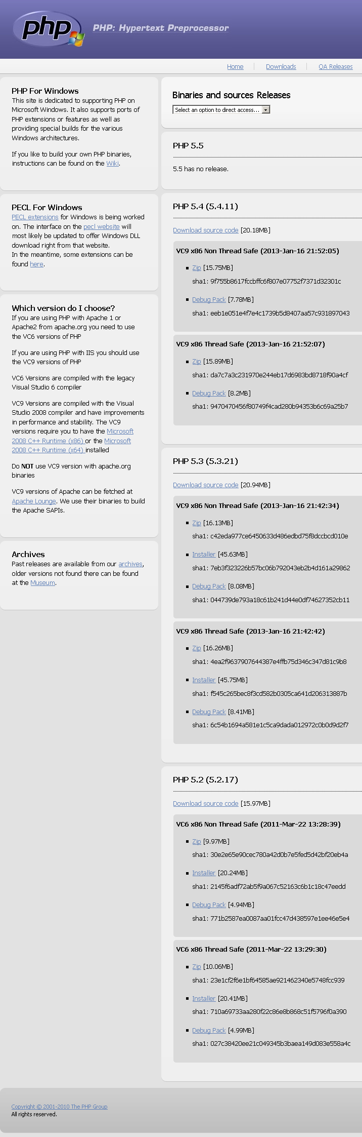 Windows PHP download page