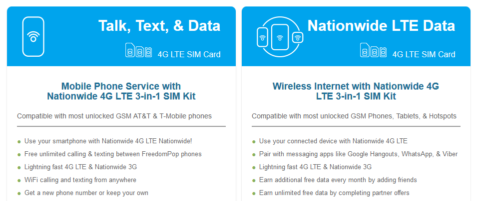 FreedomPop SIM Card Kit options