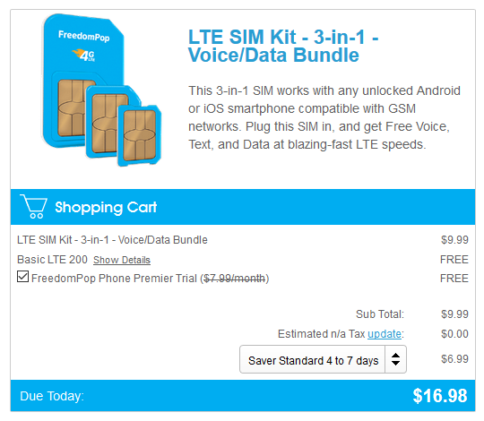 FreedomPop SIM Card Kit purchase