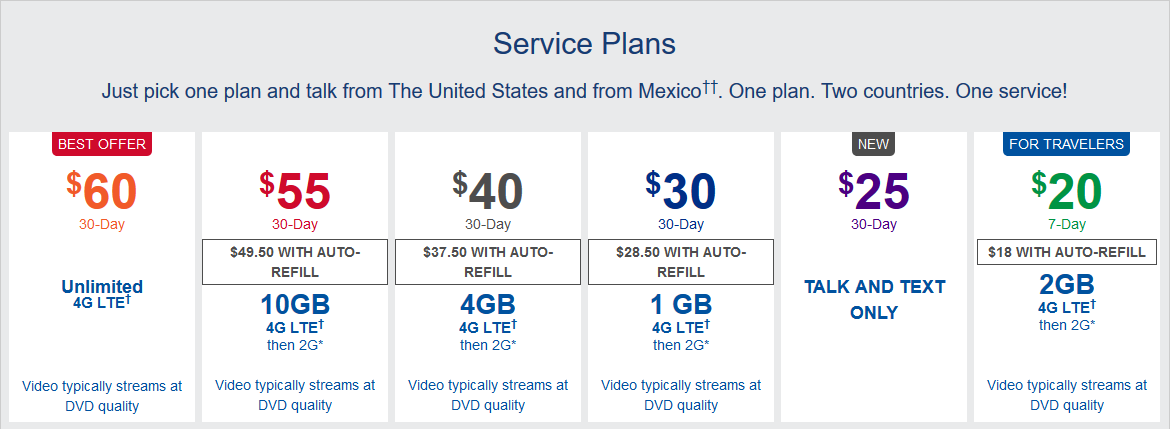 Telcel US prepaid plans